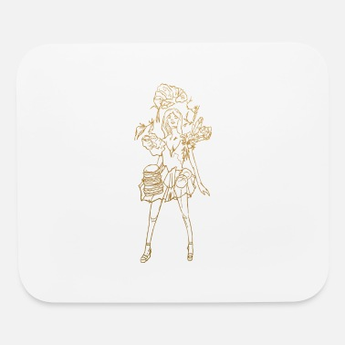 Fashion food lady in gold - Mouse Pad
