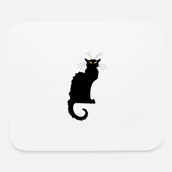 Animals Mouse Pads - MYSTERIOUS BLACK CAT - Mouse Pad white