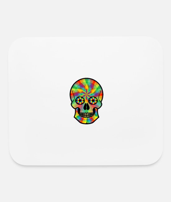 Hipster Mouse Pads - Colorful Chromatic Rainbow Skull Geometry n Colors - Mouse Pad white