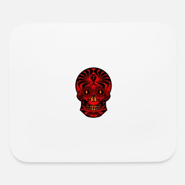 Tribal Skull Black Red Tribal Skull Tribal Tattoo - Mouse Pad