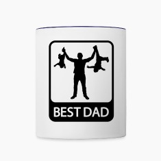 Best Dad - Funny Silhouette of Father and Children Bottles & Mugs