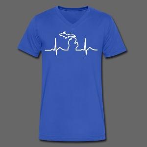 Michigan Heart Beat - Men's V-Neck T-Shirt by Canvas