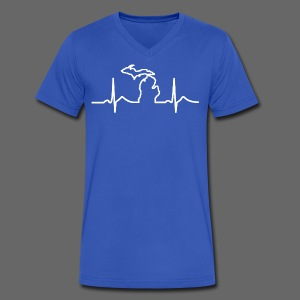 Michigan Heart Beat - Men's V-Neck T-Shirt by Canvas