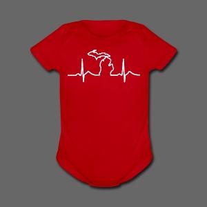 Michigan Heart Beat - Short Sleeve Baby Bodysuit