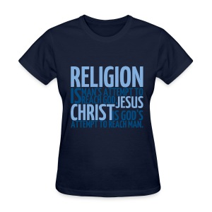 Women's ReligionVsJesus T-shirt/Navy - Women's T-Shirt