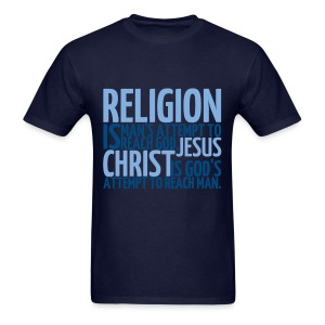 Men's ReligionVsJesus T-shirt/NavyBlue - Men's T-Shirt