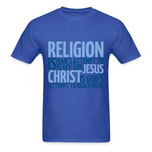 Men's ReligionVsJesus T-shirt/Blue - Men's T-Shirt