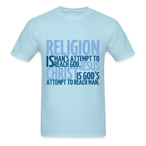 Men's ReligionVsJesus T-shirt/SkyBlue - Men's T-Shirt