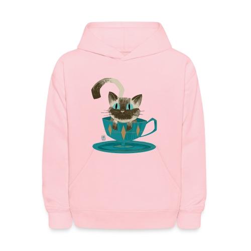 Cat in a Teacup Kids Hoodie - Kids' Hoodie