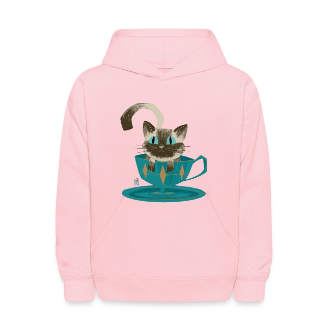 Cat in a Teacup Kids Hoodie