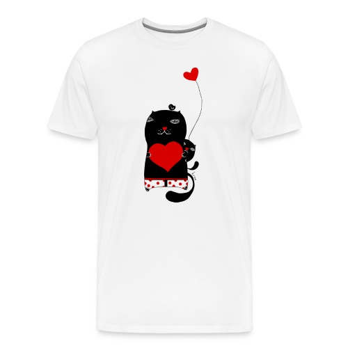 Cats with Hearts Fitted Tee - Men's Premium T-Shirt
