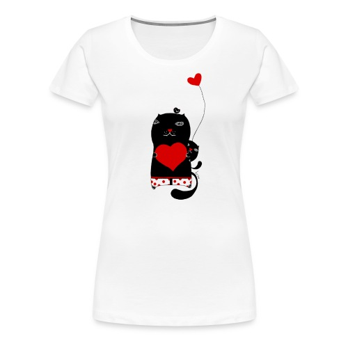 Cats with Hearts Fitted Tee - Women's Premium T-Shirt