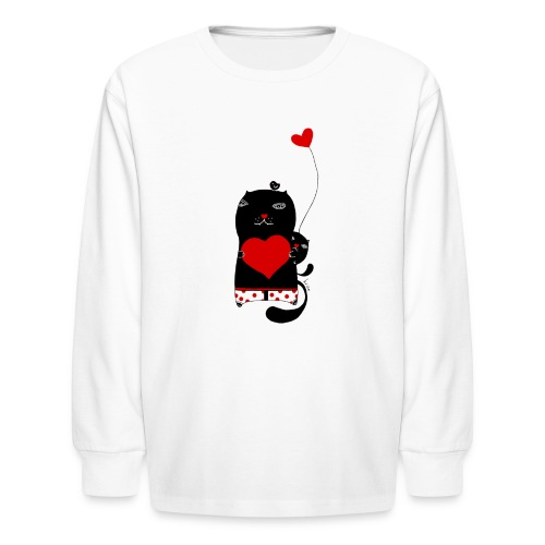 Cats with Hearts Kids Long Sleeve - Kids' Long Sleeve T-Shirt