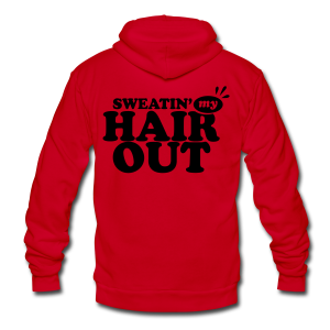 Sweatin' My Hair Out - Dark Type - Neon Hoodie - Unisex Fleece Zip Hoodie by American Apparel