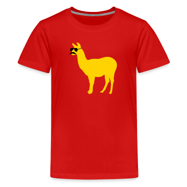 Funny llama with sunglasses and mustache Kids' Shirts