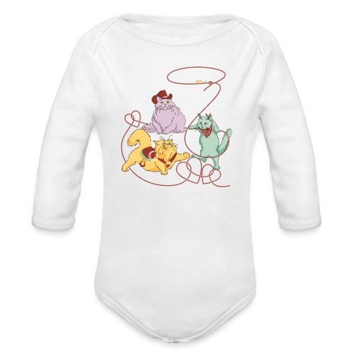 Rodeo Cats Long Sleeve   - Organic Long Sleeve Baby Bodysuit