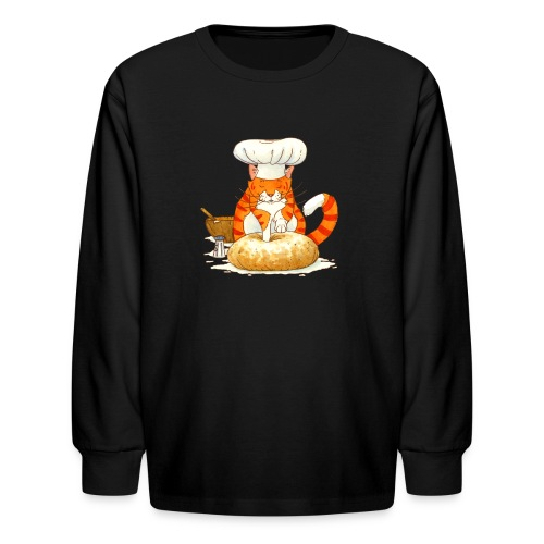 Chef Cat Kids Long Sleeve Shirt - Kids' Long Sleeve T-Shirt