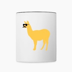 Funny llama with sunglasses and mustache Bottles & Mugs