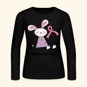 Breast Cancer Bunny Womens T-shirt (personalized) - Women's Long Sleeve Jersey T-Shirt