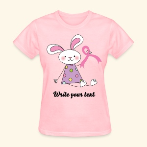 Personalized Breast Cancer Womens T-shirt (bunny) - Women's T-Shirt