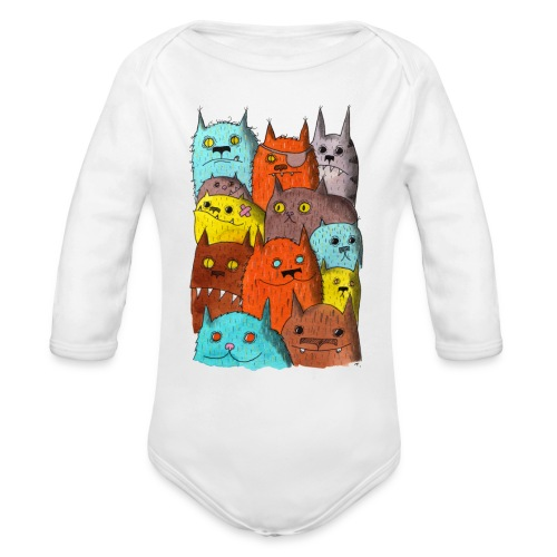 The Cats of Meow Long Sleeve Onesie - Organic Long Sleeve Baby Bodysuit