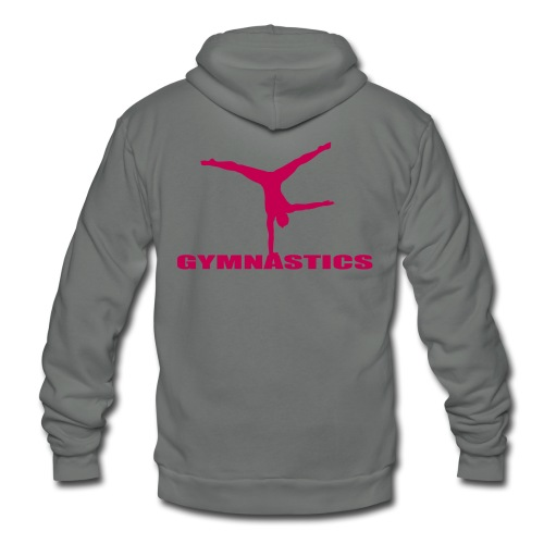 Unisex Fleece Zip Hoodie - zip up hoodie with gymnastics on the back