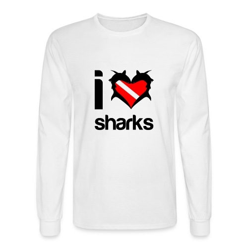 I Love Sharks T-Shirt - Men's Long Sleeve T-Shirt