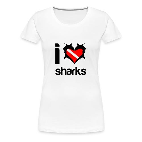 I Love Sharks T-Shirt - Women's Premium T-Shirt