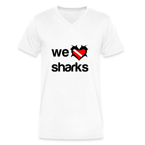 We Love Sharks T-Shirt - Men's V-Neck T-Shirt by Canvas
