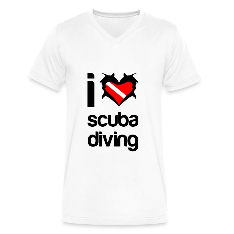 I Love Scuba Diving T-Shirt - Men's V-Neck T-Shirt by Canvas