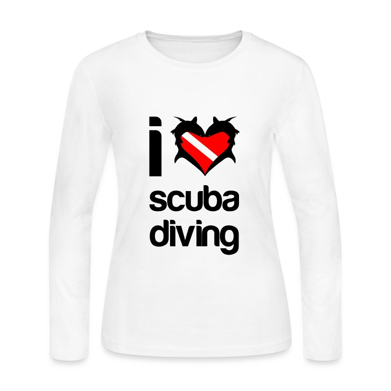 I Love Scuba Diving T-Shirt - Women's Long Sleeve Jersey T-Shirt