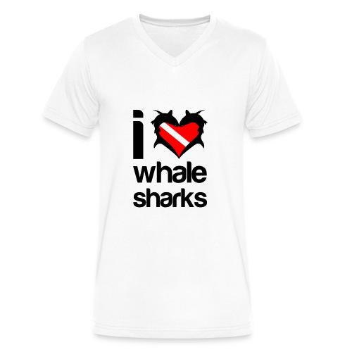 I Love Whale Sharks T-Shirt - Men's V-Neck T-Shirt by Canvas