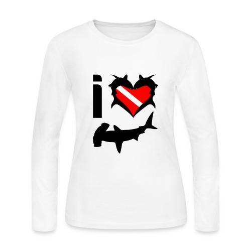 I Love Hammerhead Sharks T-Shirt - Women's Long Sleeve Jersey T-Shirt
