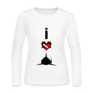 I Love Sharks T-Shirt - Women's Long Sleeve Jersey T-Shirt