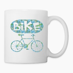 Patterned Bicycle Text Oval Bottles & Mugs