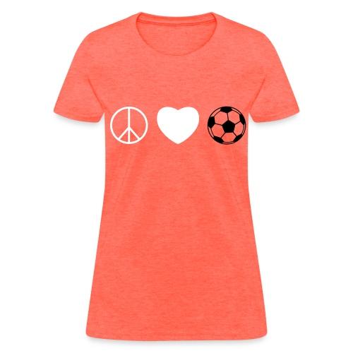 Women's T-Shirt - soccer,peace,love