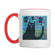 Mugs & Drinkware ~ Contrast Coffee Mug ~ Where Do You Live Little Black Cat Mug