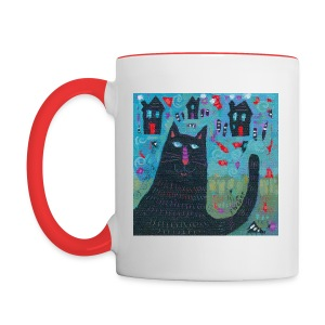Where Do You Live Little Black Cat Mug - Contrast Coffee Mug
