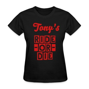 His Ride-Or-Die Customizable Tee - Name on Back - Women's T-Shirt