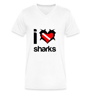 I Love Sharks T-Shirt - Men's V-Neck T-Shirt by Canvas