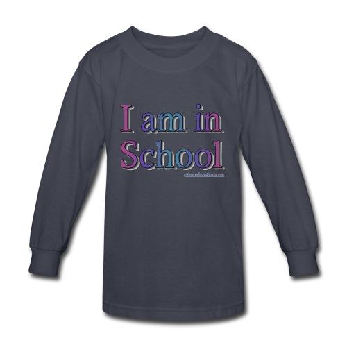 I Am In School Purple/Blue - Kids' Long Sleeve T-Shirt