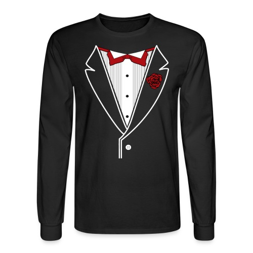 Classy Fella Long Sleeve w/ White Lines & Red Bowtie - Men's Long Sleeve T-Shirt