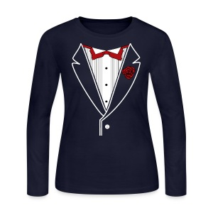 Classy Gal Long Sleeve w/ White lines & Red Bowtie - Women's Long Sleeve Jersey T-Shirt