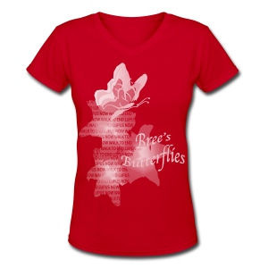 Brees Butterflies Watercolor - Women's V-Neck T-Shirt