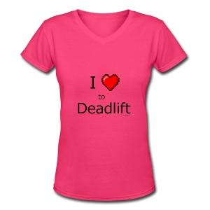 I Love to Deadlift 8 bit retro heart - Women's V-Neck T-Shirt