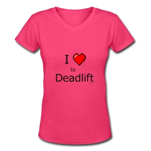 I Love to Deadlift 8 bit retro heart - Women's V-Neck T-Shirt
