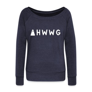 AHWWG White Logo Double Sided - Women's Wideneck Sweatshirt