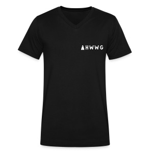 AHWWG White Logo Double Sided 2 - Men's V-Neck T-Shirt by Canvas