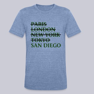 Paris London Nyc Tokyo San Diego - Unisex Tri-Blend T-Shirt by American Apparel