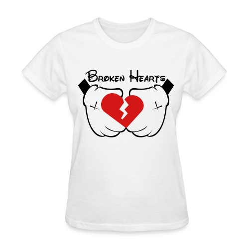 Ladies' Mickey Hands Broken Hearts Tee - Women's T-Shirt